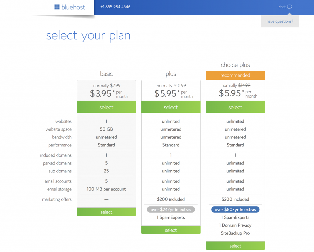 choose your hosting plan bluehost
