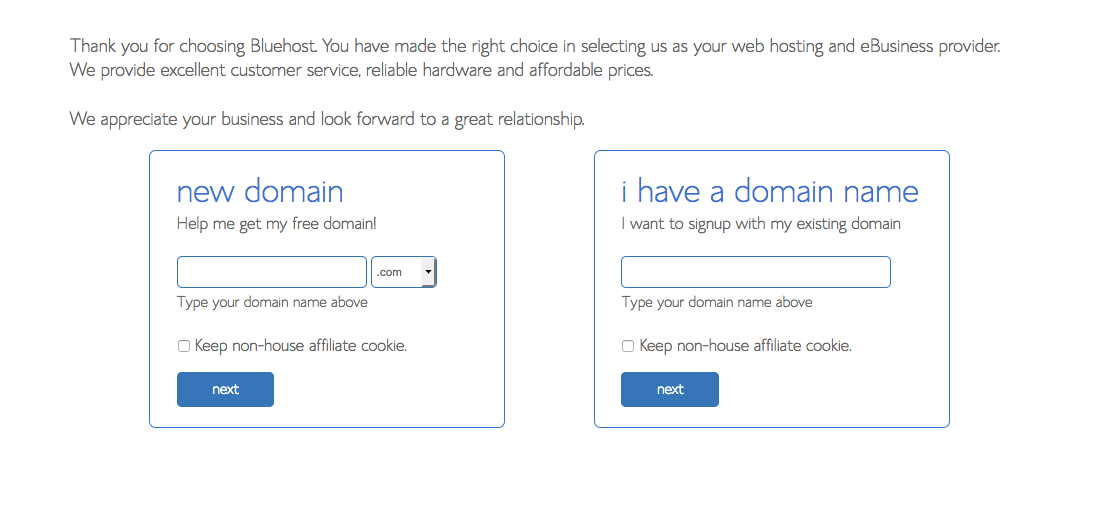 choose your domain bluehost