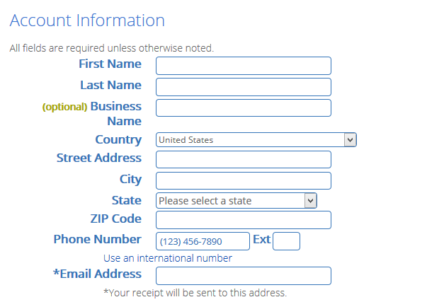 fill in your personal details bluehost