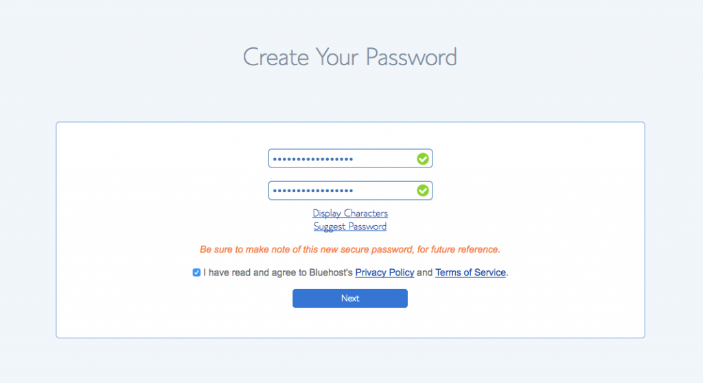 Choose your password bluehost