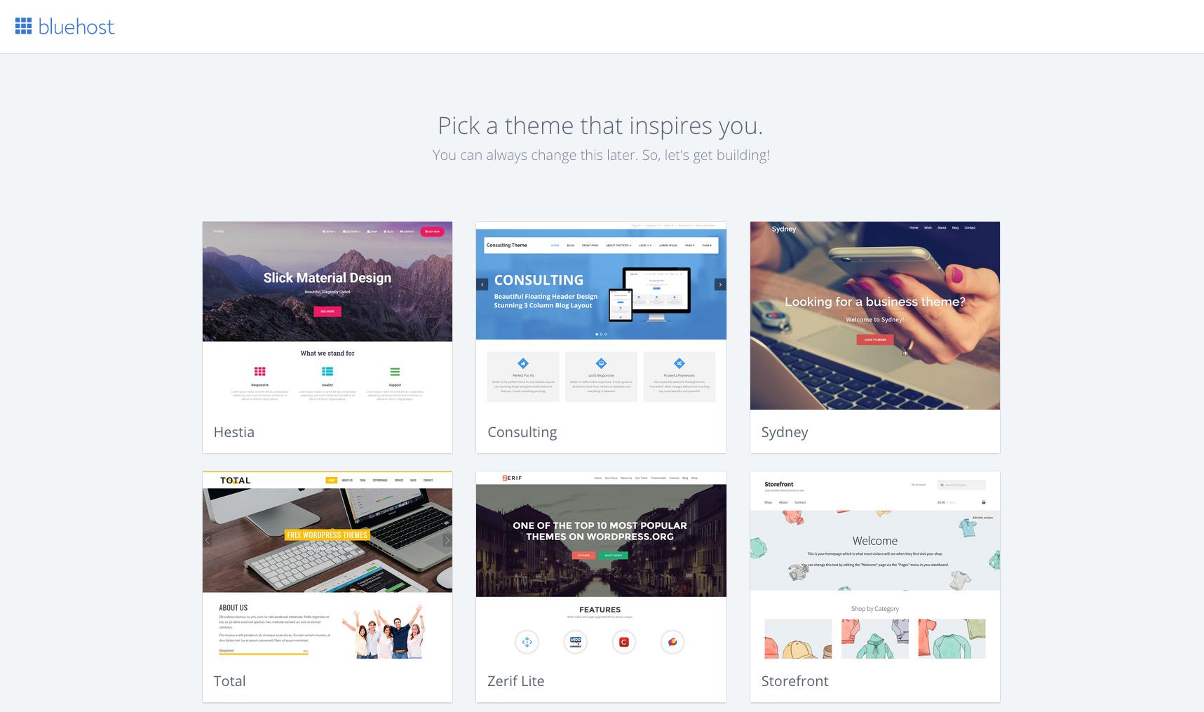 choose a theme wordpress bluehost