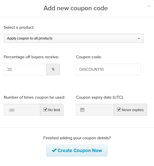 add coupon payhip