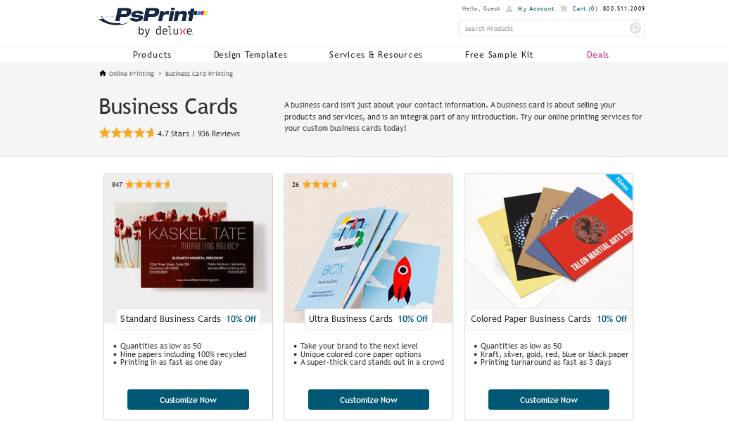 ps print business cards