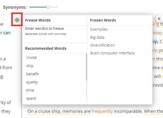 freeze words quillbot